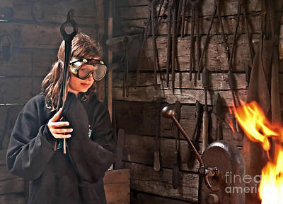 Photograph - Young Blacksmith Girl Art Prints by Valerie Garner