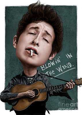 Dylan Drawing - Young Bob Dylan by Andre Koekemoer