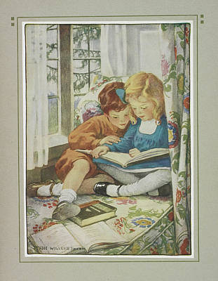 Young Boy And Girl Art Print by British Library