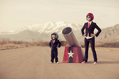 Young Boy And Woman Business Team With Art Print by Richvintage