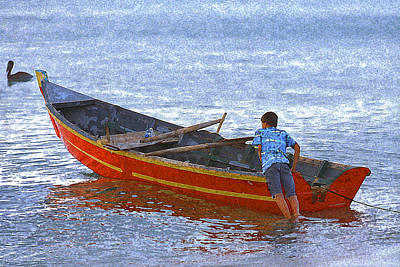 Boat Wrap Digital Art - Young Boy Launching His Skiff Fishing Boat by Ed Hoppe