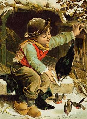 Young Boy With Birds In The Snow Art Print by English School