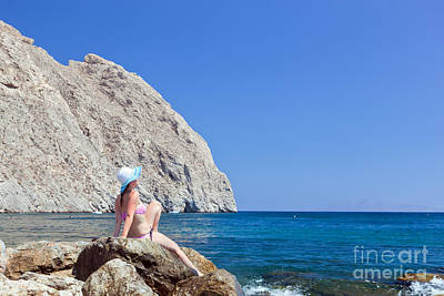 Girl Photograph - Young Brunette Beautiful Woman Sunbathing On Rock On Tropical Beach by Michal Bednarek