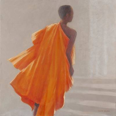 Young Buddhist Monk, 2014 Oil On Canvas Art Print