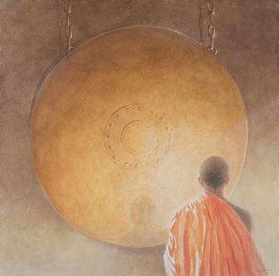 Young Buddhist Monk And Gong, Bhutan, 2010 Acrylic On Canvas Art Print