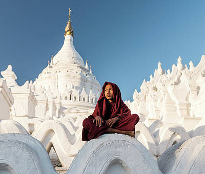 Photograph - Young Buddhist Monk Sitting On Temple by Martin Puddy
