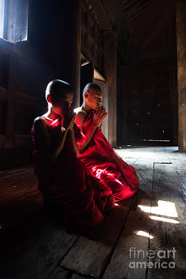 Monk Photograph - Young Buddhist Novice Monks Praying - Myanmar by Matteo Colombo
