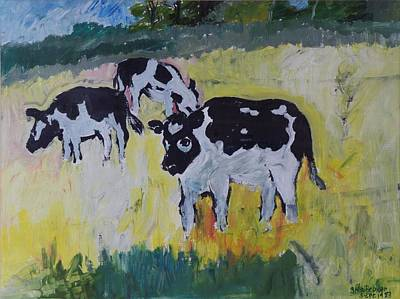 Young Bullocks In A Meadow, 1982 Oil On Canvas Art Print