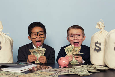 Young Business Children Make Faces Art Print by Richvintage