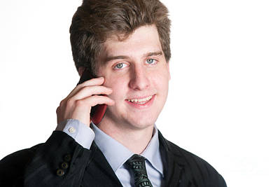 Photograph - Young Business Man On The Cell Phone by Gunter Nezhoda