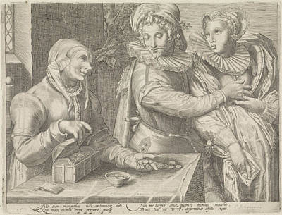 Love Poem Drawing - Young Couple And An Old Woman With Money Box Unequal Love by Jan Saenredam And Hendrick Goltzius