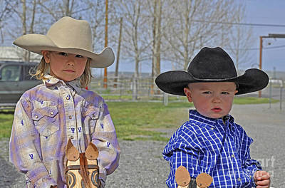 Photograph - Young Cowboy And Cowgirl Stick Ponies Art Prints by Valerie Garner