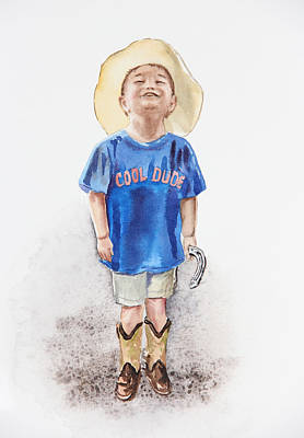 Watercolors Painting - Young Cowboy  by Irina Sztukowski