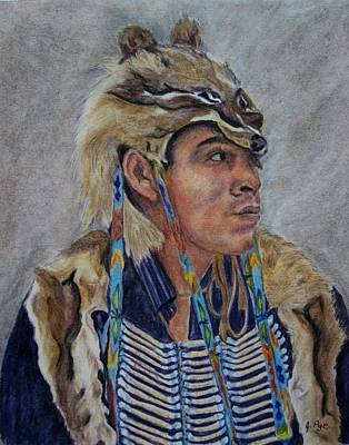 Pastel - Young Cree Man by Joan Pye