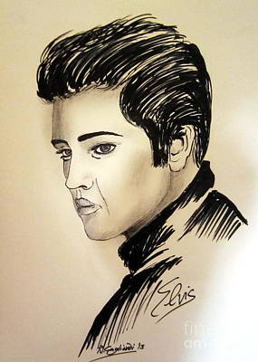 The Sixties Drawing - Young Elvis Presley by Roberto Gagliardi