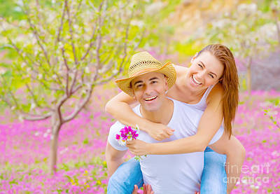 Family Guy Photograph - Young Family In Summer Garden by Anna Om