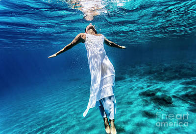 Photograph - Young Female Swimming Underwater by Anna Om