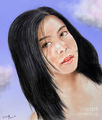 Beauty Mark Mixed Media - Young Filipina Beauty With A Mole Model Kaye Anne Toribio  Altered Version by Jim Fitzpatrick