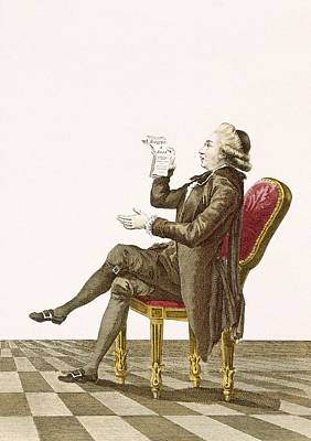Chair Drawing - Young Gentleman Poet, Engraved by Pierre Thomas Le Clerc
