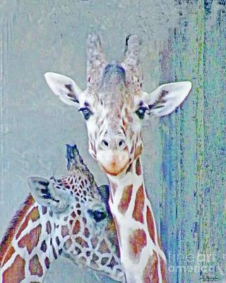 Digital Art - Young Giraffes by Lizi Beard-Ward