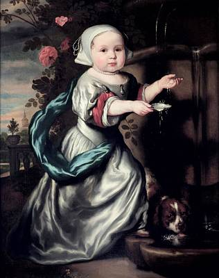 Dog Jewelry Photograph - Young Girl At A Fountain, 1662 Oil On Canvas by Nicolaes Maes