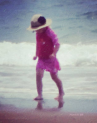 Mixed Media - Young Girl At The Beach by Patricia Januszkiewicz
