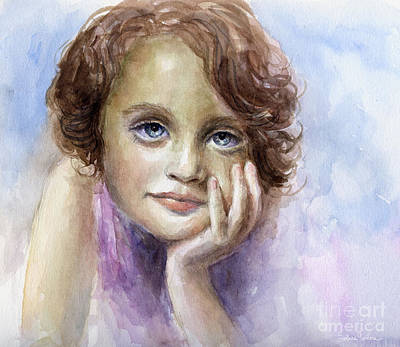 Austin Painting - Young Girl Child Watercolor Portrait  by Svetlana Novikova