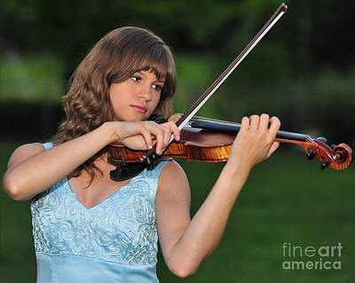 Violin Photograph - Young Girl Content To Play Her Violin In Nature by Wayne Nielsen