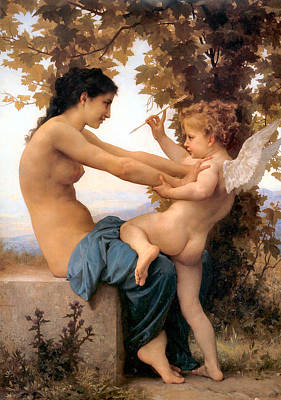 Fruits And Vegetables Still Life - Young Girl Defending herself against Cupid by William Bouguereau