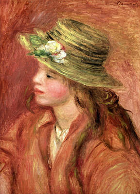 Youthful Painting - Young Girl In A Straw Hat by Pierre Auguste Renoir