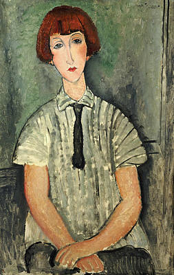Painting - Young Girl In A Striped Shirt, 1917 by Amedeo Modigliani