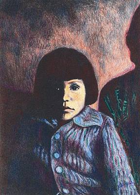 Drawing - Young Girl In Blue Sweater by Kendall Kessler