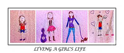 Young Girl - Living A Girl's Life - Child's Drawing - Children's Art Art Print by Barbara Griffin and Jaden