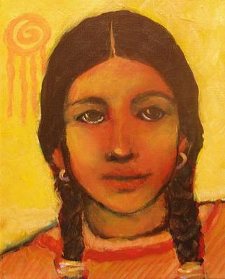 Native American Style Painting - Young Girl Of The Red Path by Carol Suzanne Niebuhr