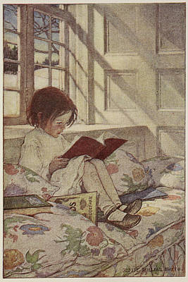 Young Girl Reading A Book Art Print by British Library