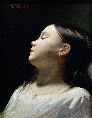 Black Background Painting - Young Girl Sleeping by Leon Joseph Florentin Bonnat