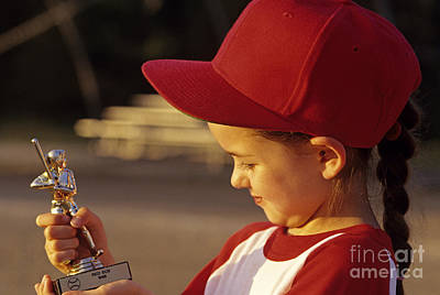 Photograph - Young Girl Smiling Holding Her Winning Little League Baseball  by Jim Corwin