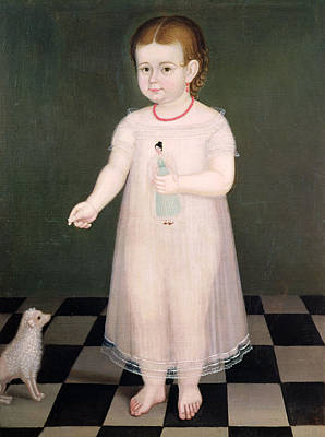 Poodle Photograph - Young Girl With A Doll, 1838 Oil On Canvas by Jose Maria Estrada