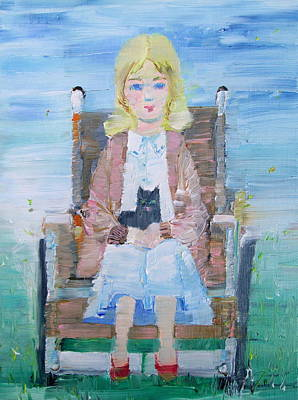 Young Girl-with Cat- On Wheelchair Art Print by Fabrizio Cassetta