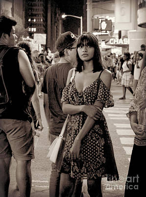 Photograph - Girl With Red Dress - Times Square by Miriam Danar
