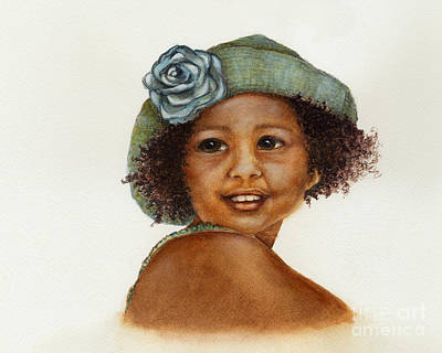 One Of A Kind Painting - Young Girl With Straw Hat by Nan Wright