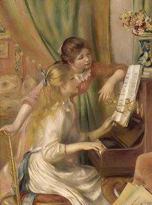 Girl Playing Piano Painting - Young Girls At The Piano by Mountain Dreams