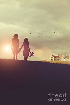 Photograph - Young Girls In Silhouette Walking In Grass Towards Farm by Sandra Cunningham
