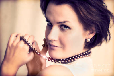 Rich Photograph - Young Glamour Lady With Gold Necklace by Michal Bednarek