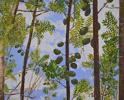 Guava Tree Painting - Young Guava Trees by Dorothy Krajewski