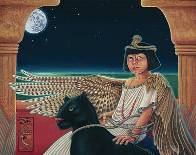 Panther Drawing - Young Isis Protects The Night by Susan Helen Strok