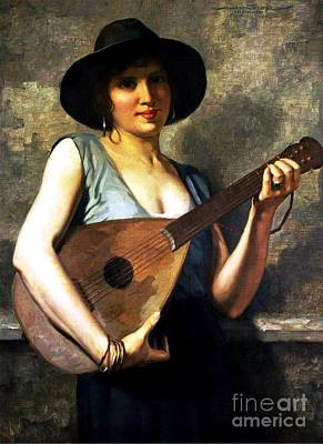 Mandolin Painting - Young Italian Mandolin Player by Pg Reproductions