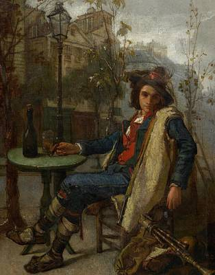 Lamppost Painting - Young Italian Street Musician by Thomas Couture