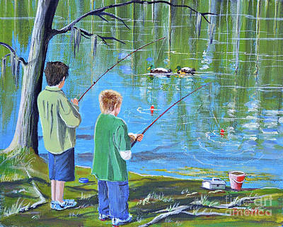 Painting - Young Lads Fishing by Bill Holkham