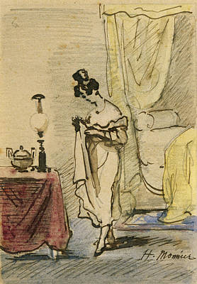 Young Lady At Home Ink & Wc On Paper 2jeune Fille Dans Un Interieur; Intimite; Art Print